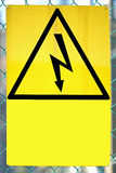 Sign with lightning for Shock Hazard risk Stock Photos