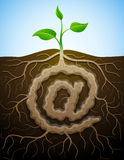 At sign like root of plant Royalty Free Stock Photography