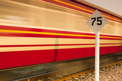 Sign limit speed and train in a fast movement Royalty Free Stock Images