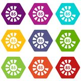 Sign 85 load icon set color hexahedron Stock Photos