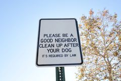 Dog Waste Clean Up Sign stock photos