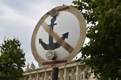 Marine sign prohibiting mooring of ships. The sign, located on the embankment of the Neva river. Opposite this sign, the municipal authorities have consented to royalty free stock photos