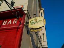 Sign logo of Czech beer in Prague stock photo