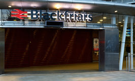 Sign of London Blackfriars Station. London, UK - April 23rd 2016 - Blackfriars national rail station, the only station to have platforms that span the river royalty free stock photography