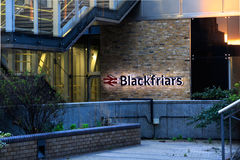 Sign of London Blackfriars Station. London, UK - April 23rd 2016 - Blackfriars national rail station, the only station to have platforms that span the river royalty free stock photos