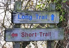 Sign for Long Hiking Trail or Short Hiking Trail