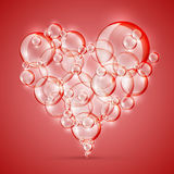 Sign of love bubble soap red Royalty Free Stock Photos