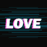 Sign love with distorted glitch effect. Royalty Free Stock Photos