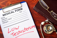 Sign low testosterone in a form. Sign low testosterone in a medical form royalty free stock images