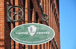 Sign of Lowell National Historical Park. Lowell, Massachusetts, USA Stock Photo
