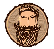 Sign with a lumberjack. Portrait of a lumberjack with a wooden texture. illustartion vector illustration