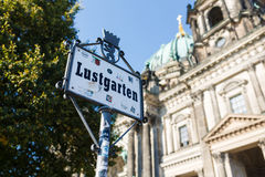 Sign of Lustgarten, Berlin Royalty Free Stock Photography