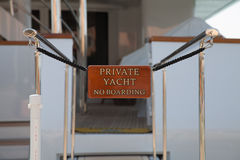 Sign on a luxury yacht - no boarding Royalty Free Stock Images