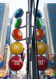 Sign of M&M`s store in Times Square Stock Images