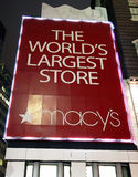 Sign Macy's Department Store. The 34th Street and Broadway facades of Macy's Department Store, the largest store in the world, at Herald Square in New York City Royalty Free Stock Photos