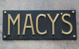 Sign at Macy`s Herald Square on Broadway in Manhattan. NEW YORK - APRIL 4, 2017: Sign at Macy`s Herald Square on Broadway in Manhattan. In 1924 Macy`s was Royalty Free Stock Photography