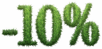 -10% sign, made of grass. Isolated on a white background. 3D illustration Royalty Free Stock Image
