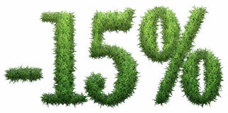-15% sign, made of grass. Isolated on a white background. 3D illustration Royalty Free Illustration