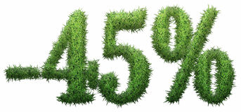-45% sign, made of grass. Isolated on a white background. 3D illustration stock illustration