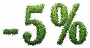-5% sign, made of grass. Isolated on a white background. 3D illustration Royalty Free Illustration
