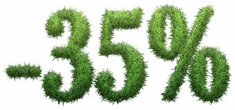 -35% sign, made of grass. Isolated on a white background. 3D illustration Royalty Free Stock Images