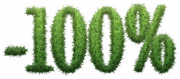 -100% sign, made of grass. Isolated on a white background. 3D illustration Stock Photos