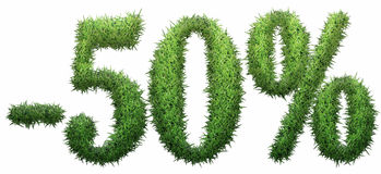 -50% sign, made of grass. Isolated on a white background. 3D illustration royalty free illustration