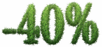 -40% sign, made of grass. Isolated on a white background. 3D illustration Stock Illustration