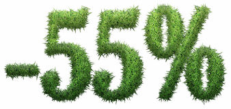 -55% sign, made of grass. Royalty Free Stock Image