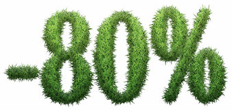 -80% sign, made of grass. Isolated on a white background. 3D illustration stock illustration
