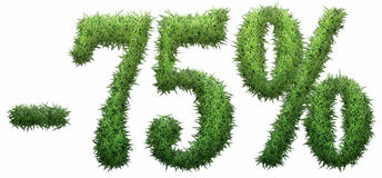 -75% sign, made of grass. Isolated on a white background. 3D illustration Royalty Free Stock Photography