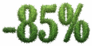 -85% sign, made of grass. Isolated on a white background. 3D illustration Vector Illustration