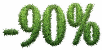 -90% sign, made of grass. Isolated on a white background. 3D illustration Royalty Free Illustration