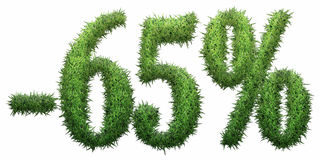 -65% sign, made of grass. Isolated on a white background. 3D illustration Vector Illustration