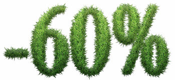 -60% sign, made of grass. Isolated on a white background. 3D illustration Royalty Free Illustration
