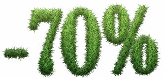 -70% sign, made of grass. Isolated on a white background. 3D illustration Stock Illustration