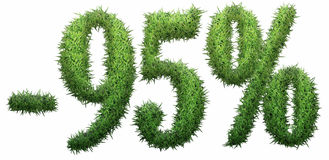 -95% sign, made of grass. Isolated on a white background. 3D illustration vector illustration