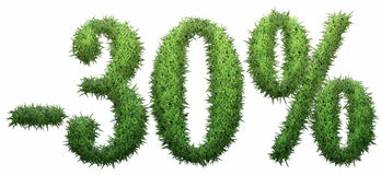 -30% sign, made of grass. On a white background. 3D illustration Stock Illustration