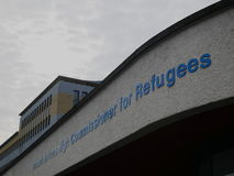 Sign at the main entrance of the UNHCR headquarters in Geneva Stock Photo