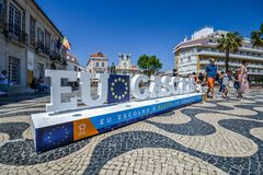 Sign at main Town Square welcoming visitors to Cascais and reminding them of upcoming European Union elections. Cascais, Portugal - May 4th, 2019: Sign at main royalty free stock images