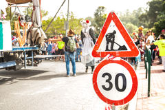 Sign of Maintenance on the road Stock Photography