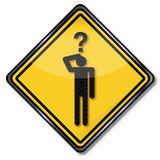 Sign man with a question and question game Royalty Free Stock Image