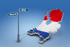 Sign and map of Netherlands illustrate potential separation of Netherlands (Holland) from European Union Stock Image
