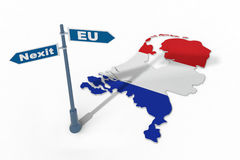 Sign and map of Netherlands illustrate potential separation of Netherlands (Holland) from European Union Royalty Free Stock Photos