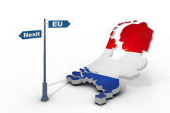 Sign and map of Netherlands illustrate potential separation of Netherlands (Holland) from European Union Royalty Free Stock Photo