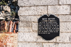 Sign Marker for Fort Monroe Water Battery. HAMPTON, VIRGINIA - NOVEMBER 15, 2015: Close-up of sign marker for the water battery at Fort Monroe completed in 1834 royalty free stock images