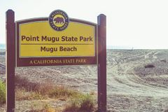 Sign Marker for Mugu Beach in Malibu, California Royalty Free Stock Photos