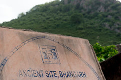 Sign marking Bhangarh India. Sign or Plaque marking the entry point for the famous haunted city of Bhangarh Stock Photos
