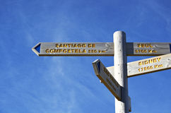 Sign marking the distance from Pamplona to Santiago de Compostel Stock Photo