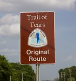 Sign Marking the original route of the Trail of Tears Stock Photo